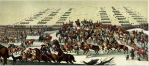 Tropas suecas lideradas por el rey Carlos X atravesando a pie en febrero de 1658 el Estrecho congelado de Gran Belt, uno de los tres estrechos que conectan el Mar del Norte con el Báltico, en el marco de la Segunda Guerra Nórdica.
