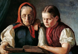 """Madre y su hija leyendo la Biblia. Cuadro """"Mutter und Schwester"""" de Hans Thoma, 1868."""