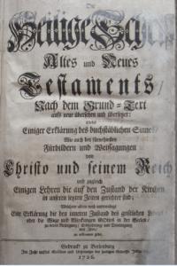 Biblia pietista de Berleburg, 1726.