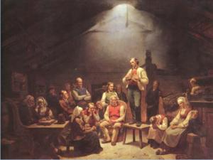 Asamblea o reunión de pietistas noruegos (haugueanos) en el siglo XIX. Cuadro de 1852 de Adolph Tidemand.