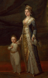 Lady Montagu retratada por Van Mour (1671-1737) en torno a 1717, junto a su hijo Edward, que sería inoculado contra la viruela un año después en Estambul.